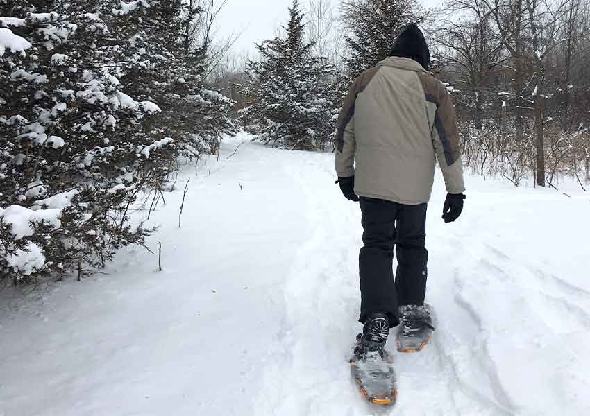 man snowshoeing on a wooded trail