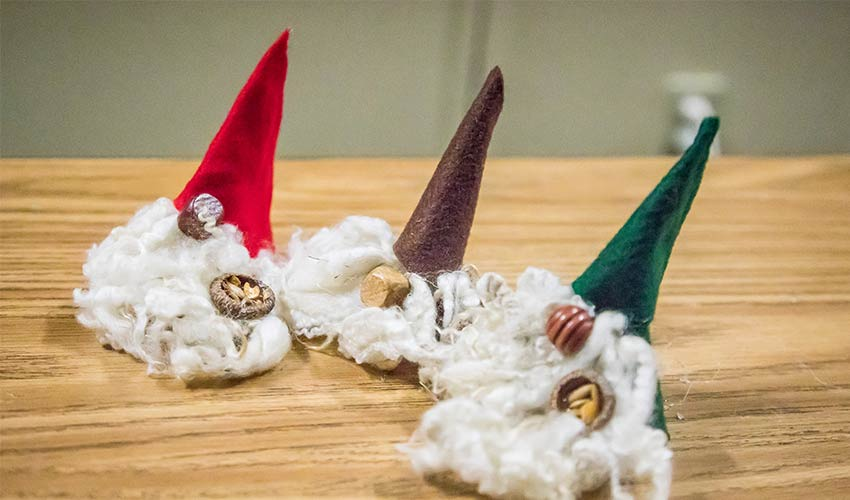 tomte crafts with white beards and pointed hats