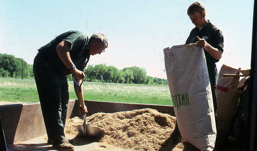 two men shoveling sand and mixing with seeds in a large bage