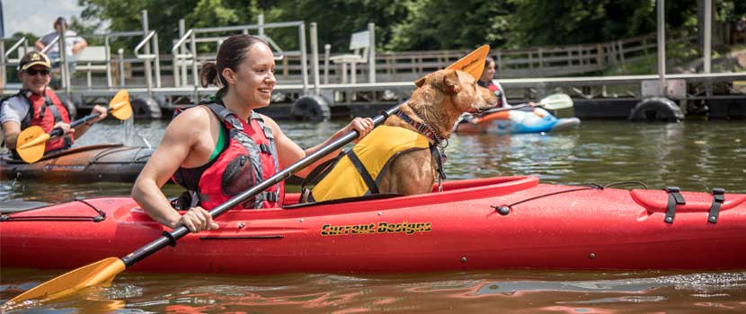 a woman in a red kayak with her dog.