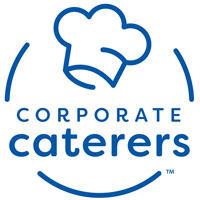 Blue and white logo for corporate caterers.