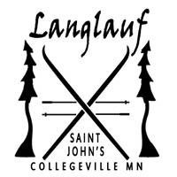 Black and white Langlauf ski race logo.