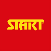 "Red and yellow logo that says ""Start."""