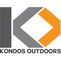 Gray and orange Kondos Outdoors logo.