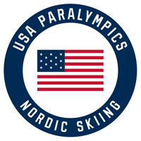 USA paralympics nordic skiing logo with an american flag in the middle of a navy circle