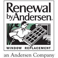 renewal by anderson logo with an illustration of a man holding a window pane.