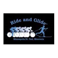 black and blue ride and glide logo.